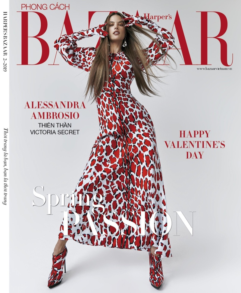 Alessandra Ambrosio covers the February 2019 issue of Harper Bazaar Vietnam. Photographed by Elio Nogueira.