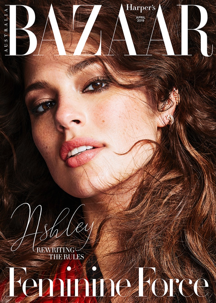 Ashley Graham  on the April 2019 cover of Harper's Bazaar Australia